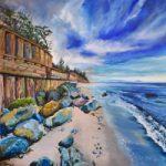 Rocky Sandy Beach – Coastal Painting by Warsash Hampshire Artist Lesley Stevens