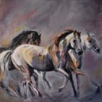 Running Wild Horses – Equine Art – Equestrian Oil Painting by Lesley Stevens