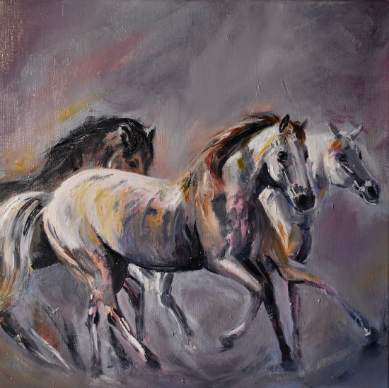 Running Wild Horses - Equine Art - Equestrian Oil Painting by Lesley Stevens