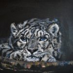 Snow Leopard in Cave – Oil on Canvas – Warsash Hampshire Animal Portrait Artist Lesley Stevens