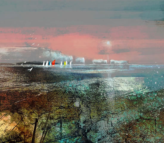 The Needles Isle of Wight - Sea view with Sailing Boats - Hampshire Art Gallery - Prints for sale