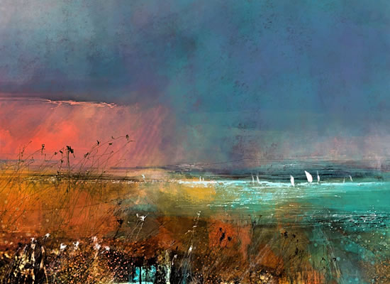 The Solent - Evening Sea view with Sailing Boats - Hampshire Gallery - Fine Art Prints
