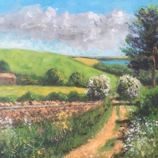 Abbotsbury Dorset - Path to Swannery - English Landscape Artist Chris Cotes
