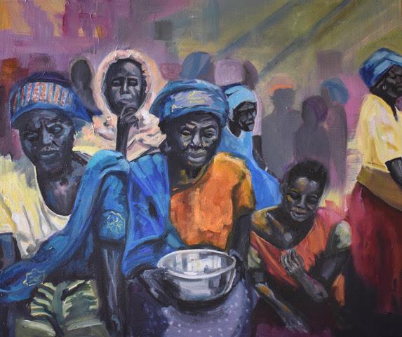 African Women - Silver Bowl Painting - Warsash Southampton Art Gallery