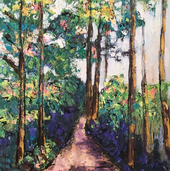 Puddletown Forest Dorset England - Woodland Landscape Painting - Artist Chris Cotes from Weymouth