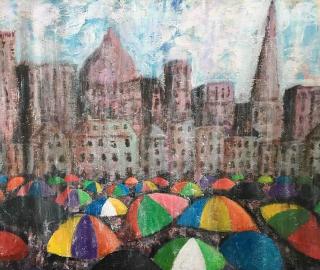 Umbrellas - Wet Day in Town - Weymouth Dorset Artist Chris Cotes