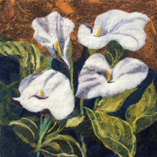 Calla Llilies felt - Artwork by Katrin Eagle - Petersfield Wool Artist and Designer