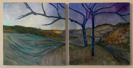Diptych - Winter Trees Lake Hills - Abstract Artist Eileen Riddiford