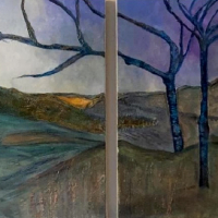 Diptych – Painting – Winter Trees Lake Hills – Abstract Artist Eileen Riddiford – Froxfield