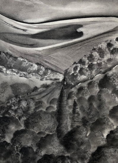 Hampshire and Sussex Downs - Charcoal Landscape Painting - Petersfield Arts and Crafts Society member Eileen Riddiford