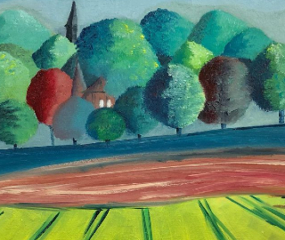 High Cross from Across the Field - Oil on Board - Petersfield Arts & Crafts Society member Eileen Riddiford