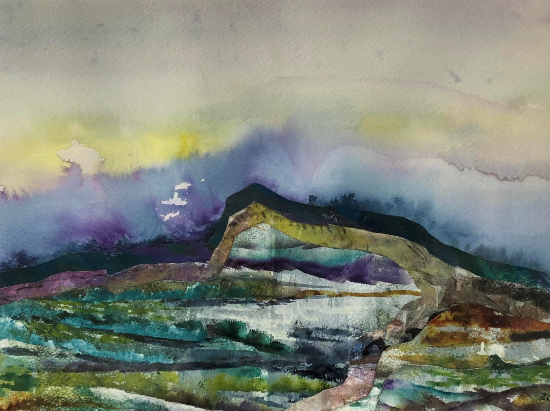 Landscape - Watercolour and Collage - Froxfield Petersfield Artist Eileen Riddiford