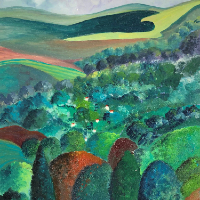 Toward The Downs  Landscape Oil Painting – Petersfield Arts and Crafts Society Artist Eileen Riddiford