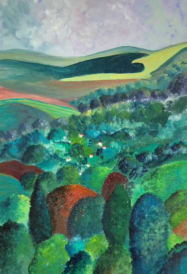 Toward The Downs Landscape Oil Painting - Petersfield Arts and Crafts Society Artist Eileen Riddiford
