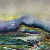 Landscape – Watercolour and Collage  – Froxfield Petersfield Artist Eileen Riddiford