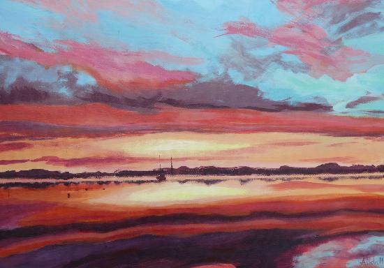 Bosham West Sussex Sunset 2 - Petersfield Seascape and Landscape Artist Alison Udall