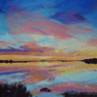 Bosham Harbour West Sussex Sunset –  Petersfield Arts and Crafts Society member Alison Udall