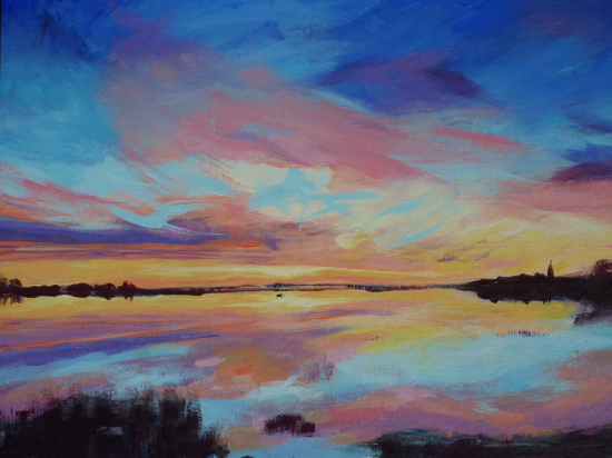 Bosham West Sussex Sunset - Petersfield Arts and Crafts Society member Alison Udall