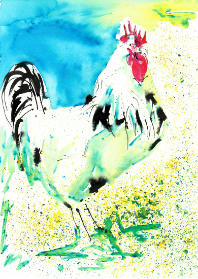Chicken Painting by Petersfield Arts and Crafts Society member Alison Udall