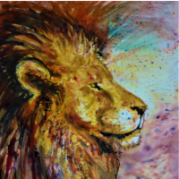 Lions Head – Animal Portrait – Petersfield Hampshire Artist Alison Udall