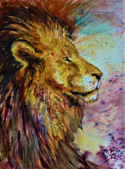 Lions Head - Animal Portrait - Petersfield Hampshire Artist Alison Udall