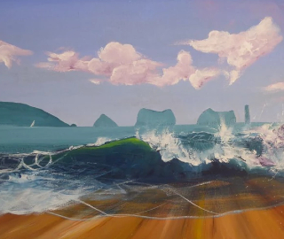 Needles Isle of Wight - Seascape - Petersfield Arts and Crafts Society member Alison Udall