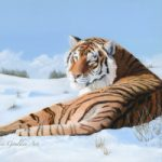 Siberian Tiger in Snow – Oil Painting – Romsey Hampshire Artist Debbie Goulden